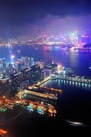 noite aérea de hong kong foto