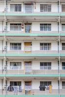 close-up de apartamentos antigos de hong kong, Ásia foto