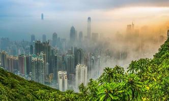 vista nebulosa de hong kong foto