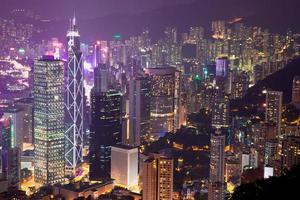 porto de victoria à noite, hong kong china foto