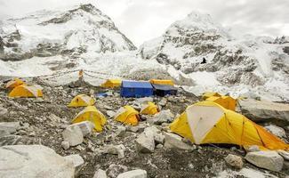 barracas no acampamento base do everest, dia nublado.