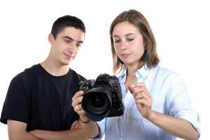 estudante e jovem fotógrafo feminino