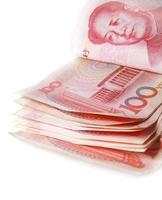 notas de dinheiro vermelho china foto