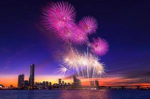 festival internacional de fogos de artifício em Seul, na Coréia.