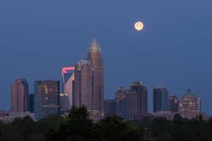 pôr da lua sobre charlotte, nc foto
