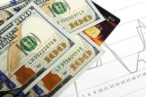 conceito de negócio - cartão de crédito e dinheiro foto
