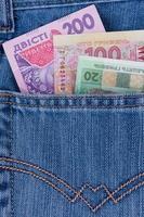 dinheiro ucraniano no bolso foto