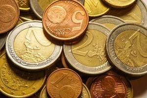 moedas de euro dinheiro. fundo macro.