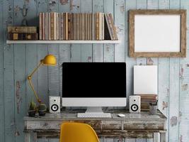 mock-se espaço de trabalho, monitor na mesa, tela preta foto