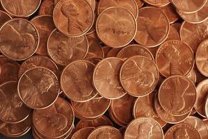 textura de moedas de bronze foto