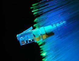 cabo de rede com fundo de cor de alta tecnologia tecnologia foto