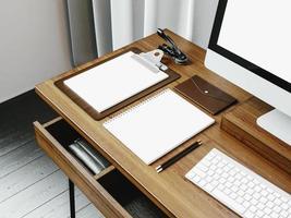 mock up da tela do computador de design genérico e espaço de trabalho. 3d