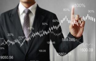 símbolos financeiros da tela de toque foto