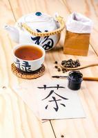 """hieróglifo chinês para """"chá"""" e conjunto de chá foto"""