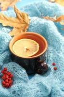 xícara de chá no outono