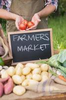 agricultor vendendo vegetais orgânicos no mercado foto