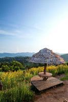 belo local para jantar e bela vista sobre a montanha foto