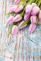 tulipas cor de rosa em pranchas de madeira foto