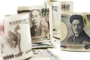notas japonesas, close-up foto