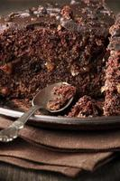 close-up de bolo de chocolate foto
