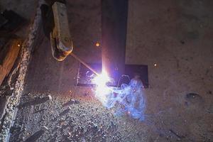 soldagem de aço close-up foto