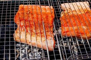 grelhados com salmão, close-up