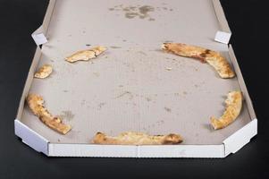 sobras de pizza em uma mesa preta