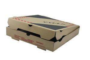 caixa de pizza parcialmente aberta foto