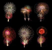 fogos de artifício conjunto de seis fotos