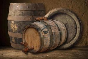 natureza morta com um barril de cerveja foto