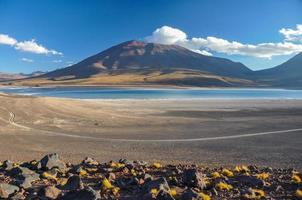 vulcan licancabur com paisagens deslumbrantes de sur lipez, sul b foto