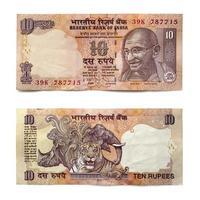 nota de dez rupias indianas frente e verso sobre branco