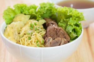 sopa de macarrão de pato. foto