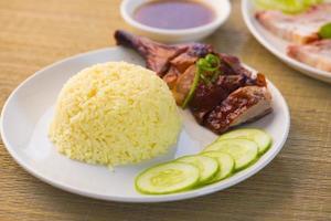 coxa de arroz de pato assado chinês foto
