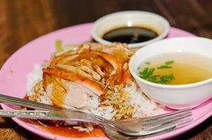 pato com mesa de arroz foto