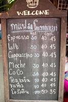 placa do menu de café foto