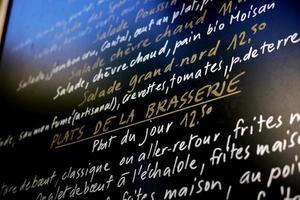 placa do menu francês foto