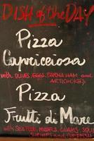 menu de pizza italiana