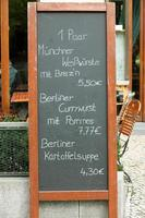 menu de restaurante alemão xxxl foto