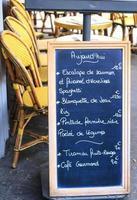 placa do menu do café foto