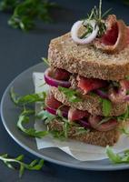 sanduíche de pão integral com rosbife, cebola e rúcula. foto