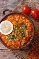 sopa de lentilha vermelha com vista superior vertical de limão e salsa foto