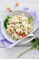 risoto com cogumelos e cenouras foto