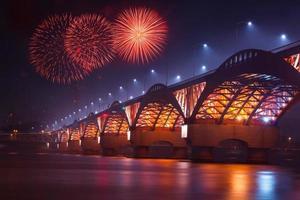 ponte seongsan e fogo de artifício foto