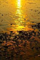 pôr do sol praia rochosa foto