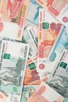 fundo de notas de rublo de dinheiro russo foto