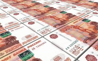 notas de dinheiro russo empilha fundo. foto