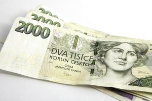 coroas checas czk, notas foto