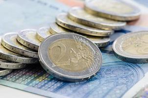 moedas e notas foto