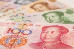 dinheiro chinês yuan notas close-up foto